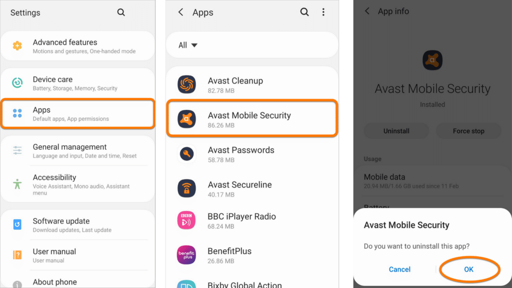 remove avast from android