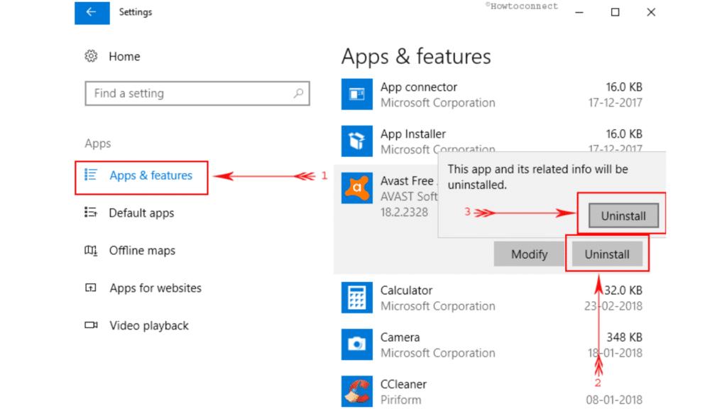 uninstall Avast from Windows 10