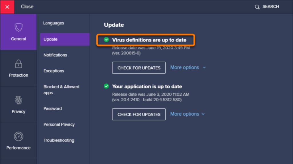 Avast virus definitions update