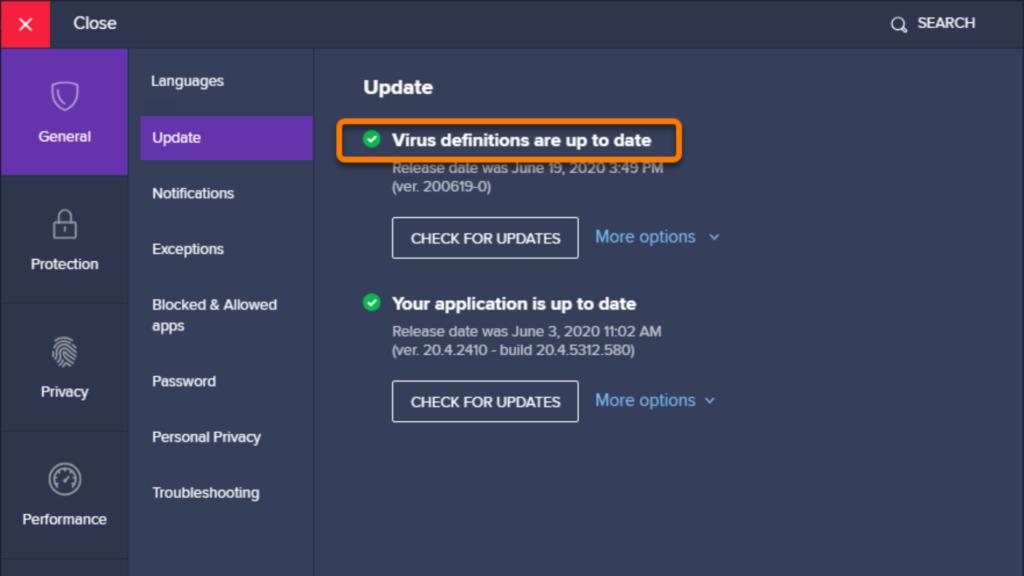 Avast virus definitions update