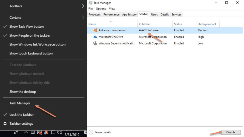 Disable Avast SafeZone Browser