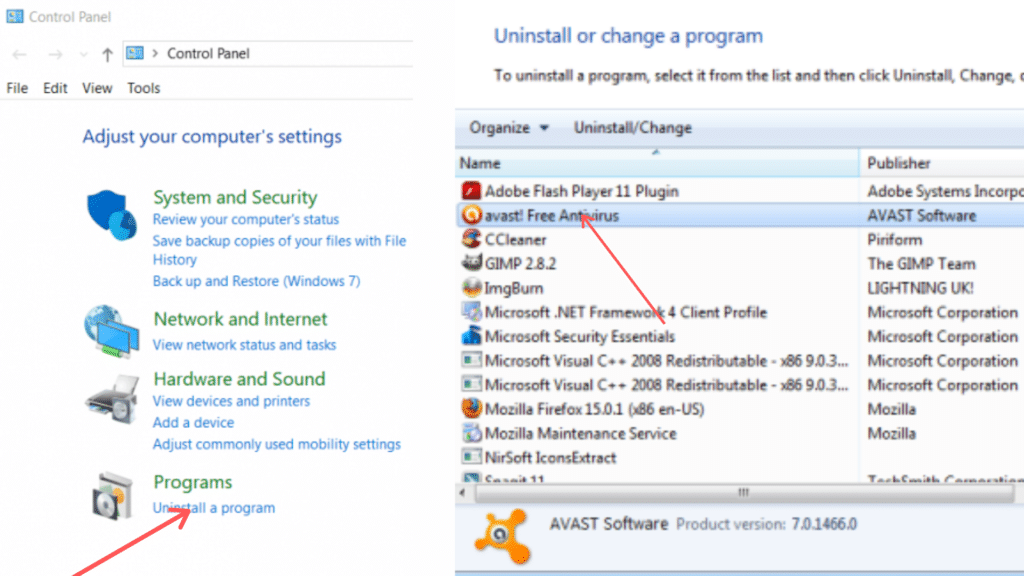 Remove Avast unwanted tools