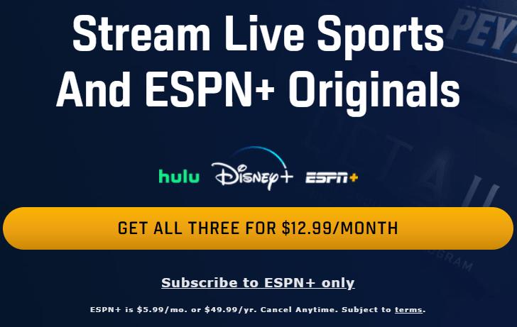 ESPN+, Hulu, Disney+ Bundle
