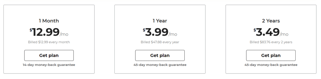CyberGhost Pricing Plans