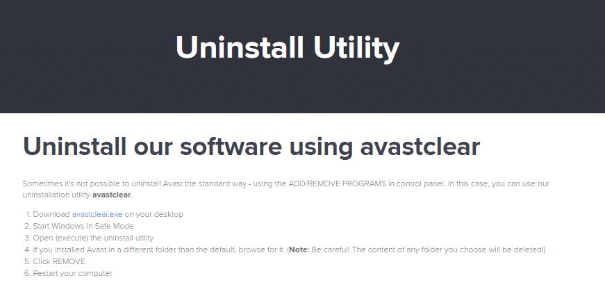 Avast Uninstall Utility
